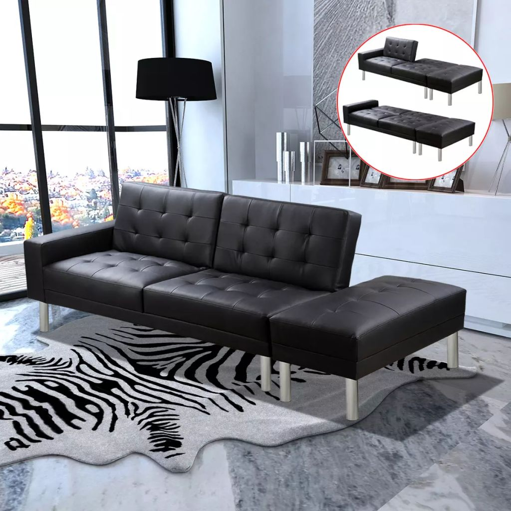Sofa Bed Artificial Leather Black 1