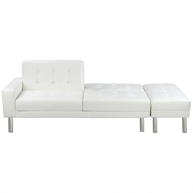 Sofa Bed Artificial Leather White 5