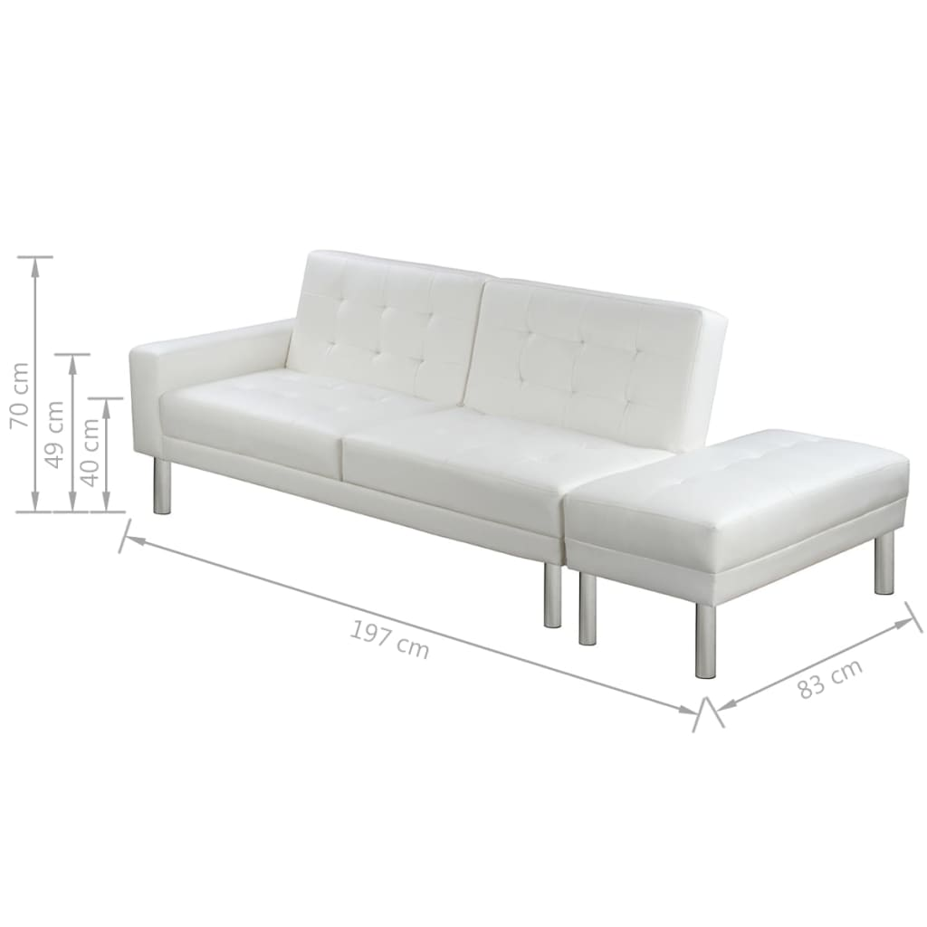 Sofa Bed Artificial Leather White 9