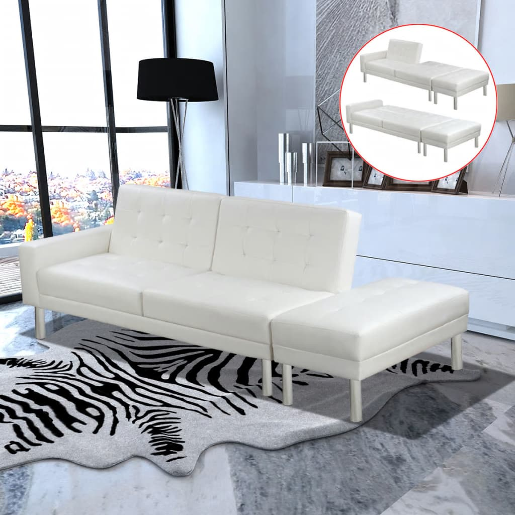 Sofa Bed Artificial Leather White 1
