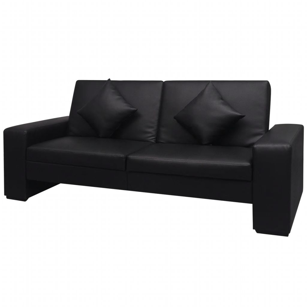 Sofa Bed Black Artificial Leather 2