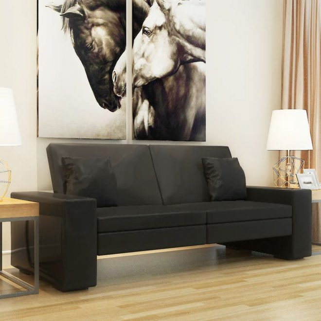 Sofa Bed Black Artificial Leather 1