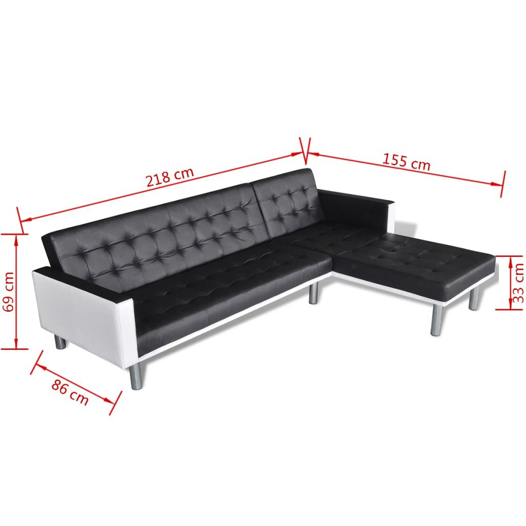 L-shaped Sofa Bed Faux Leather Black 9