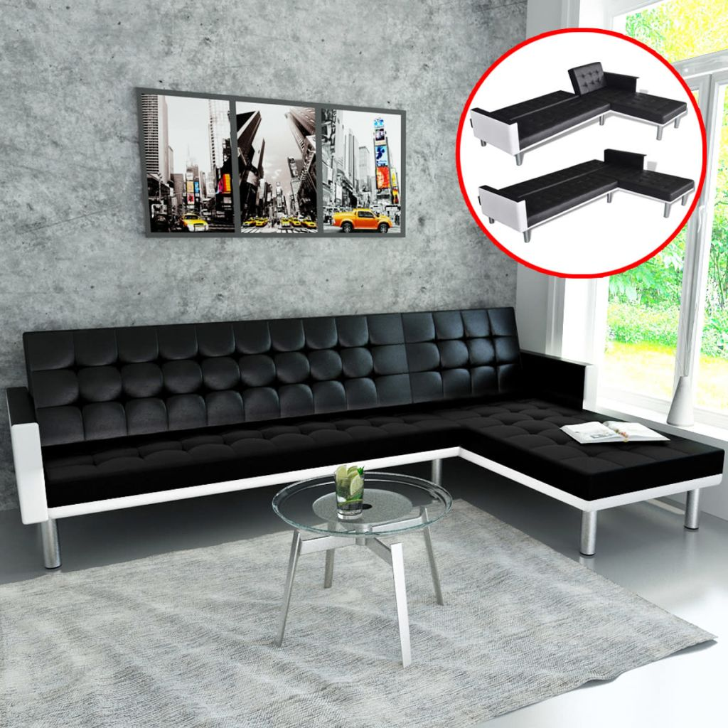 L-shaped Sofa Bed Faux Leather Black 1