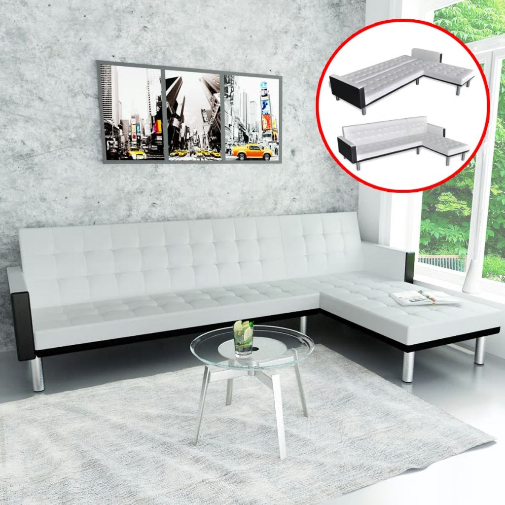 L-shaped Sofa Bed Faux Leather White