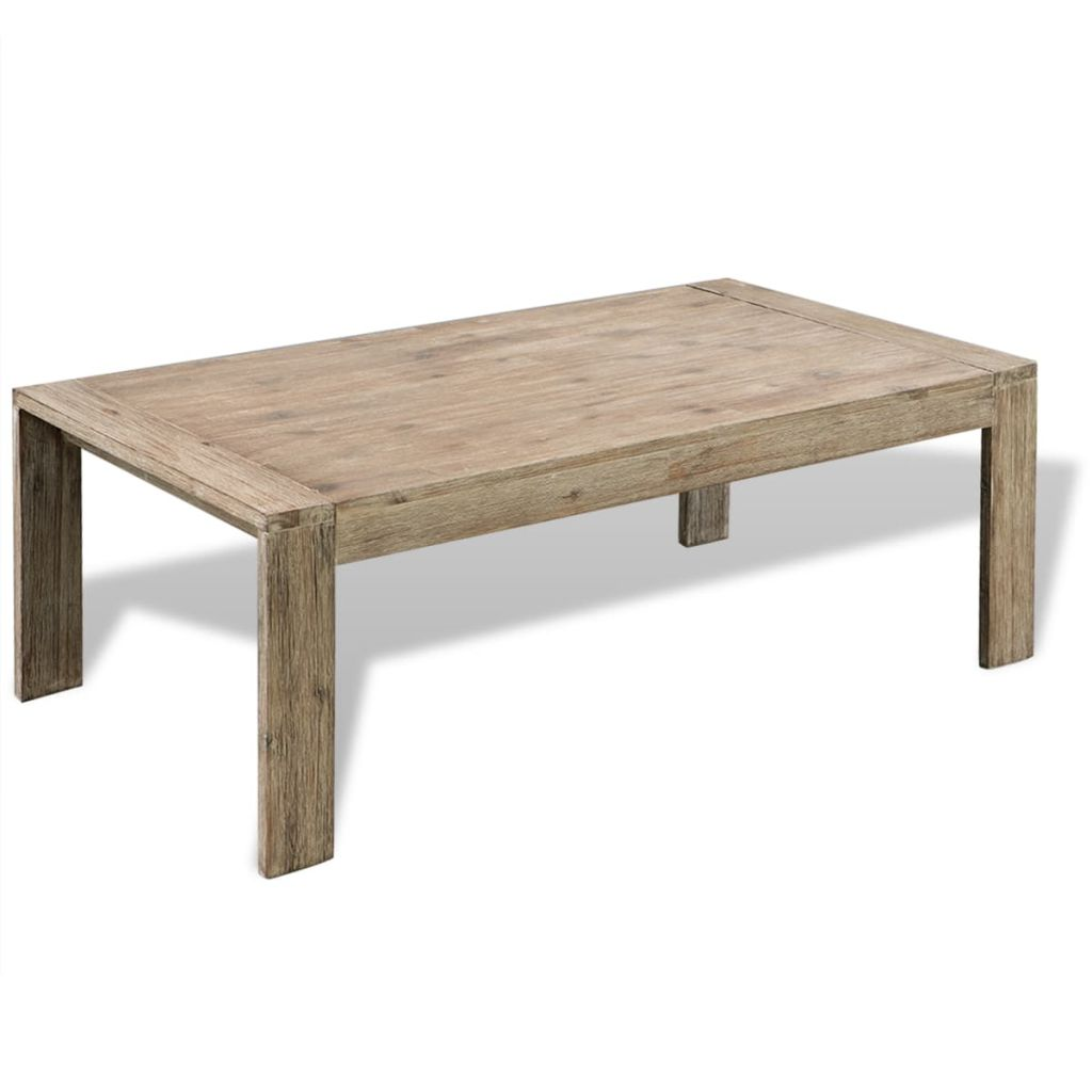 Coffee Table Solid Brushed Acacia Wood 110x60x40 cm 2