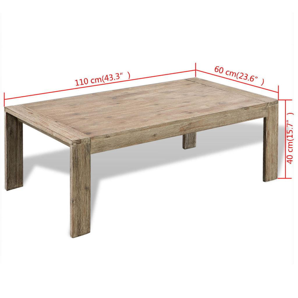 Coffee Table Solid Brushed Acacia Wood 110x60x40 cm 6