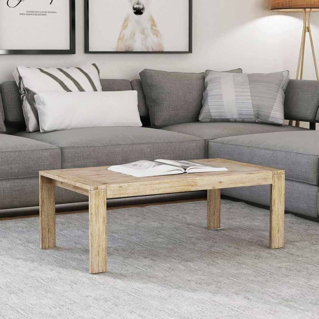 Coffee Table Solid Brushed Acacia Wood 110x60x40 cm 1
