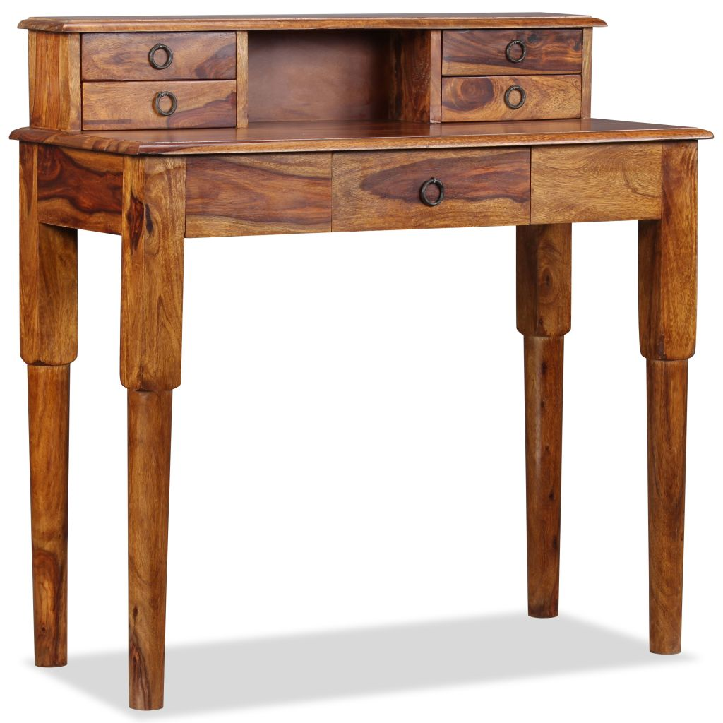 Writing Desk with 5 Drawers Solid Sheesham Wood 90x40x90 cm 5