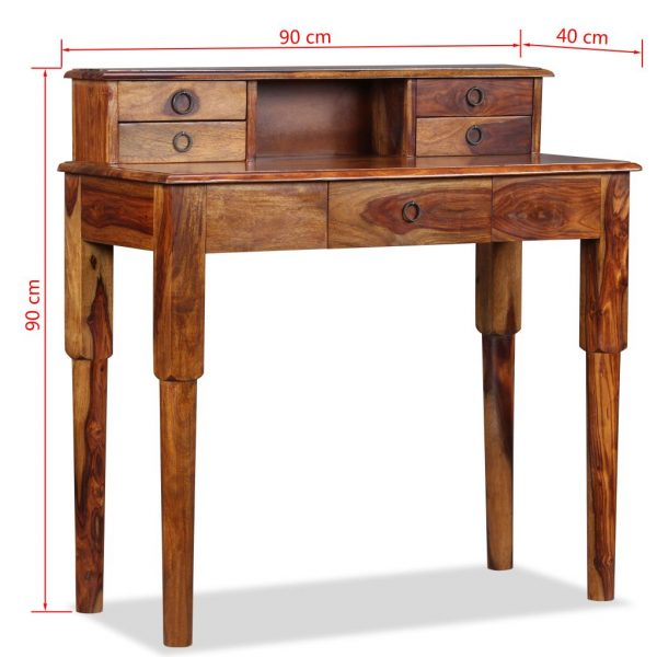 Writing Desk with 5 Drawers Solid Sheesham Wood 90x40x90 cm 9