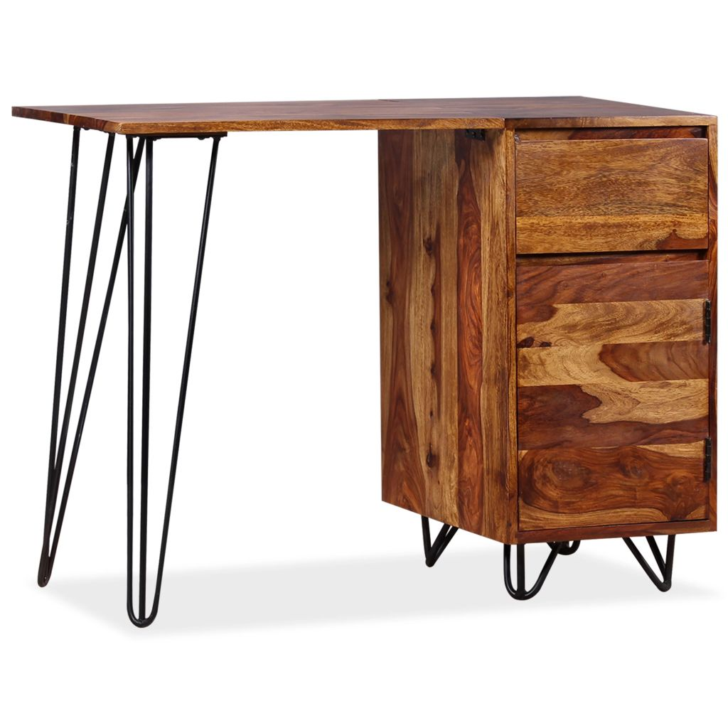Writing Desk with 1 Drawer and 1 Cabinet Solid Sheesham Wood 1