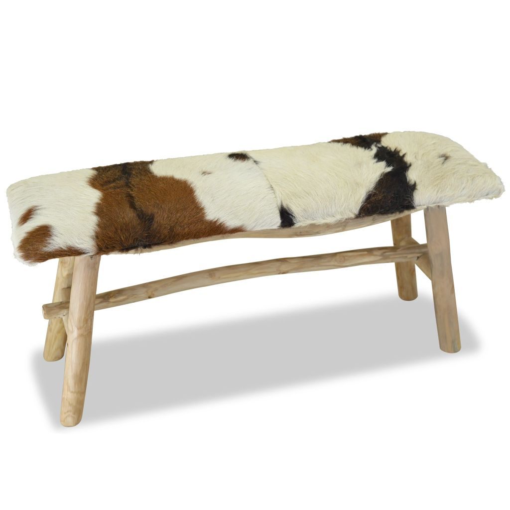 Bench Real Leather Teak 1