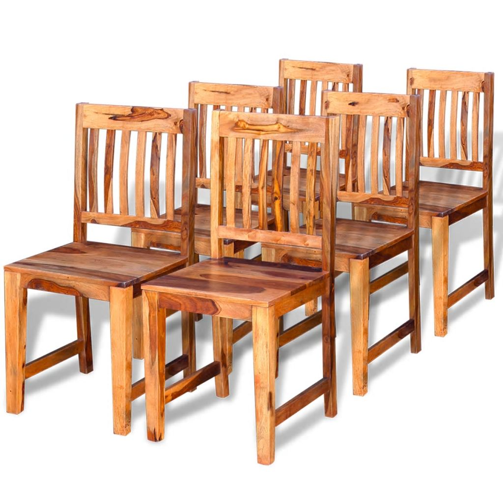 Dining Chairs 6 pcs Solid Sheesham Wood
