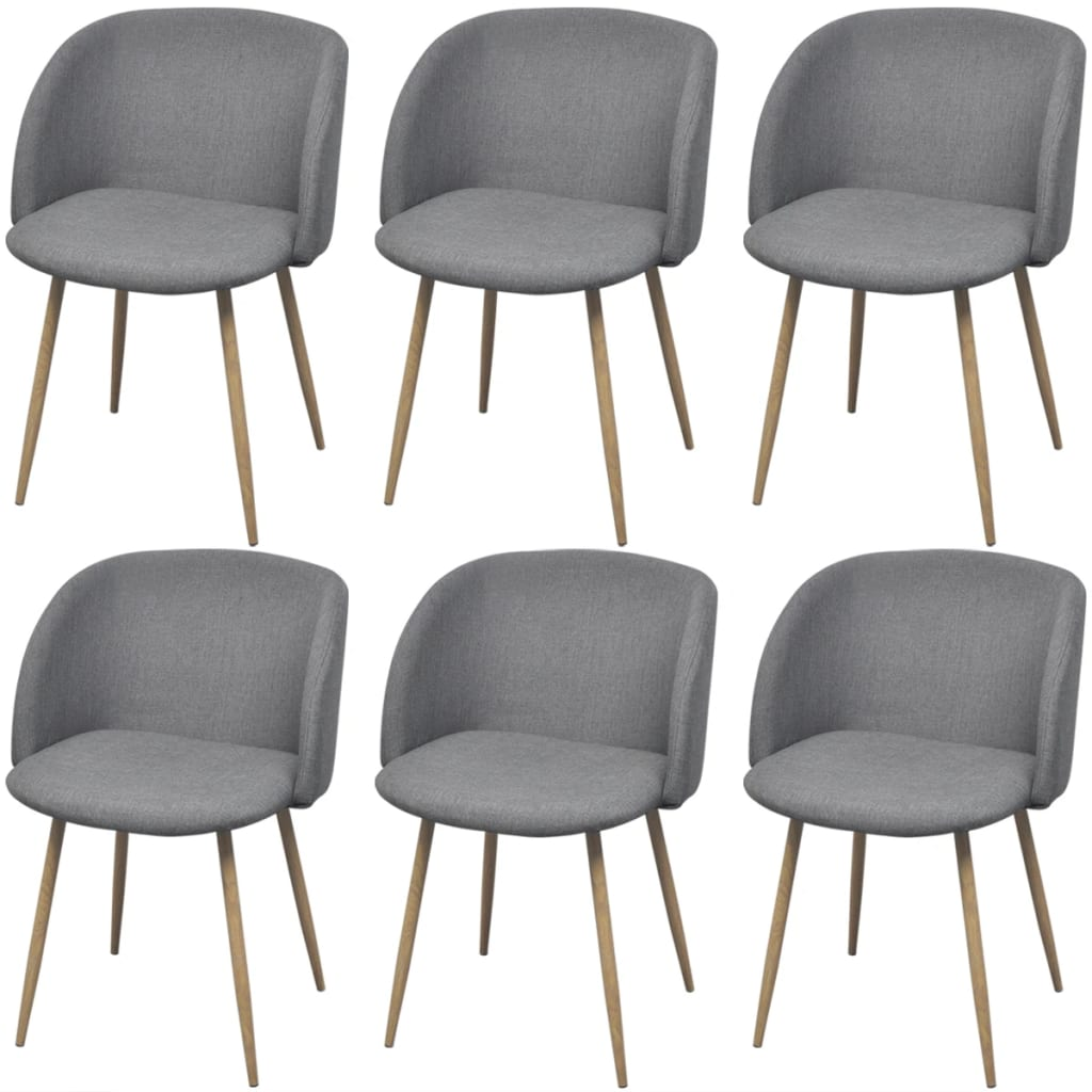 Dining Chairs 6 pcs Light Grey Fabric