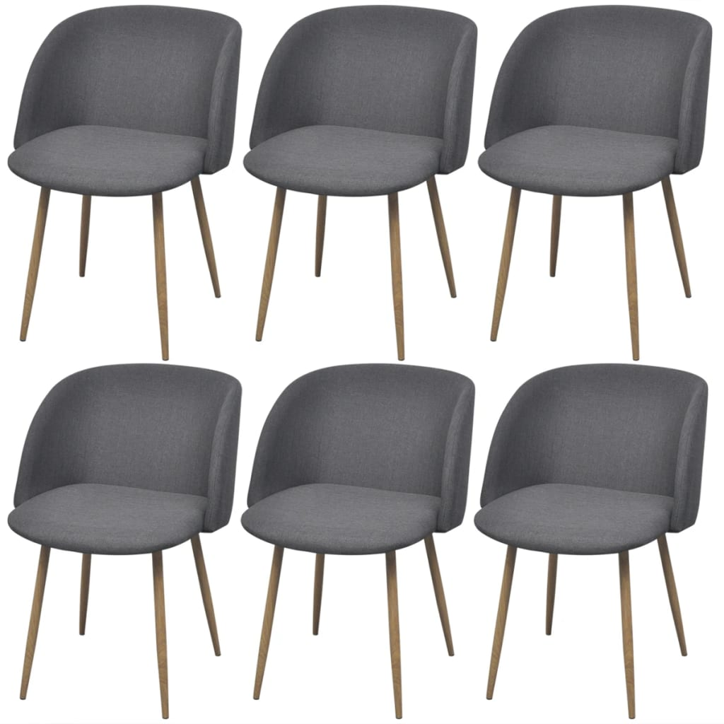 Dining Chairs 6 pcs Dark Grey Fabric 1