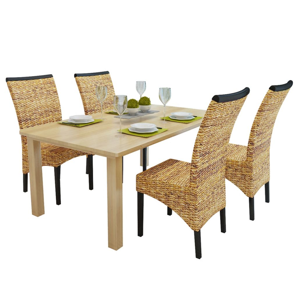 Dining Chairs 4 pcs Abaca and Solid Mango Wood