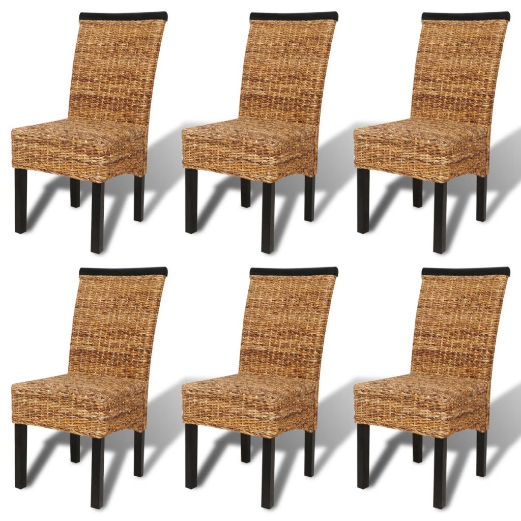 Dining Chairs 6 pcs Abaca and Solid Mango Wood 2