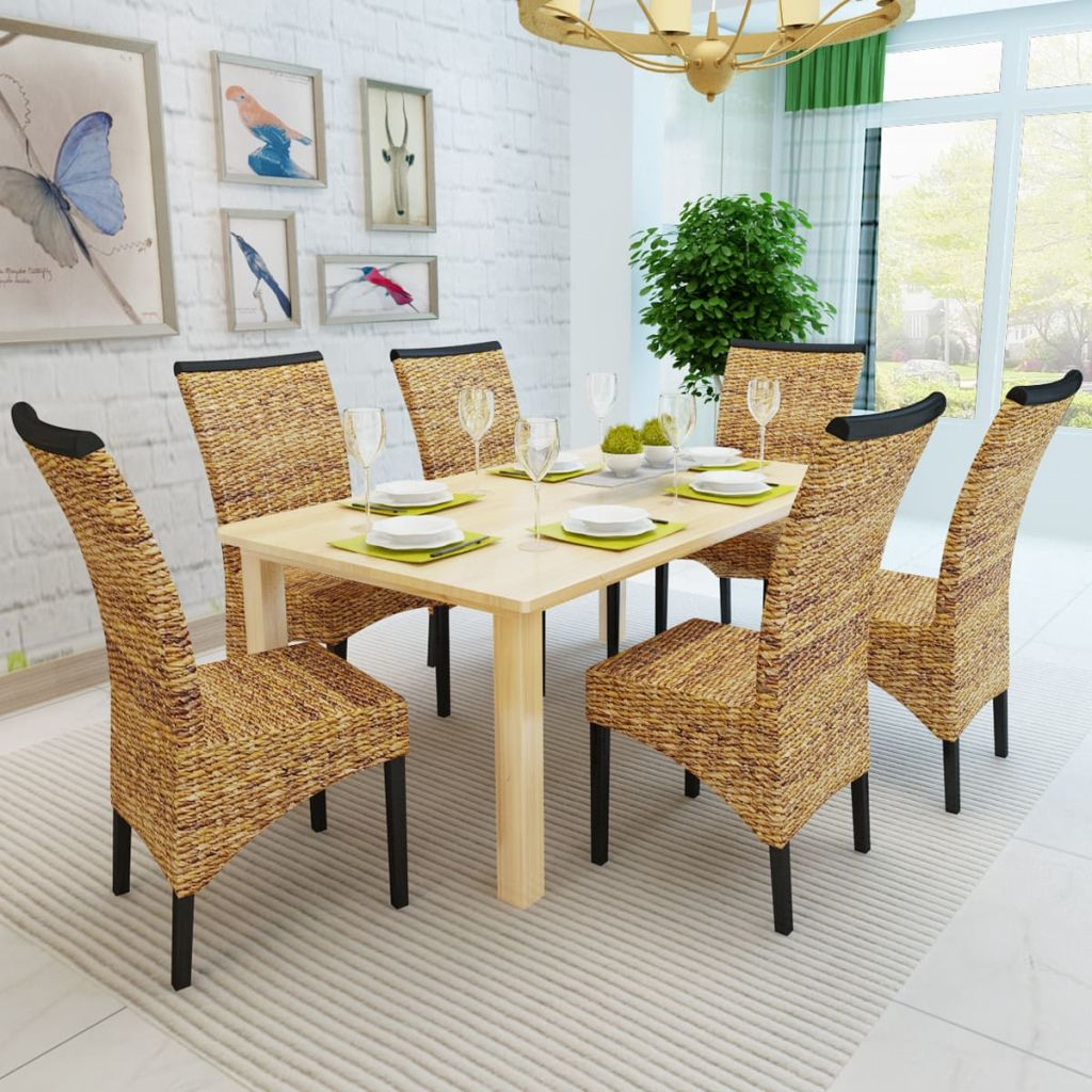 Dining Chairs 6 pcs Abaca and Solid Mango Wood 3