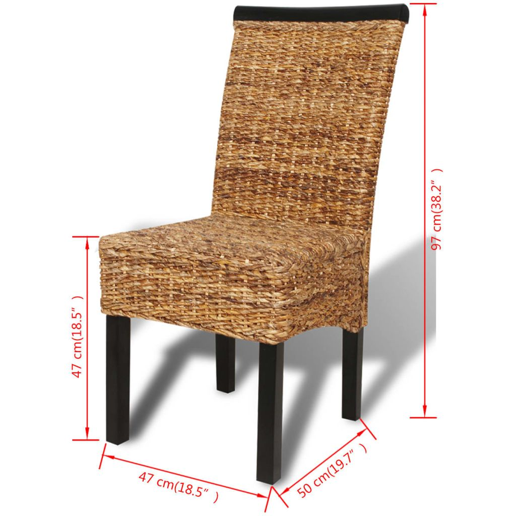 Dining Chairs 6 pcs Abaca and Solid Mango Wood 10