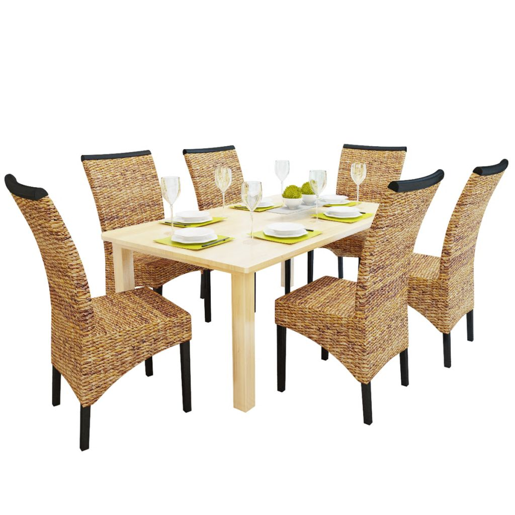 Dining Chairs 6 pcs Abaca and Solid Mango Wood 1