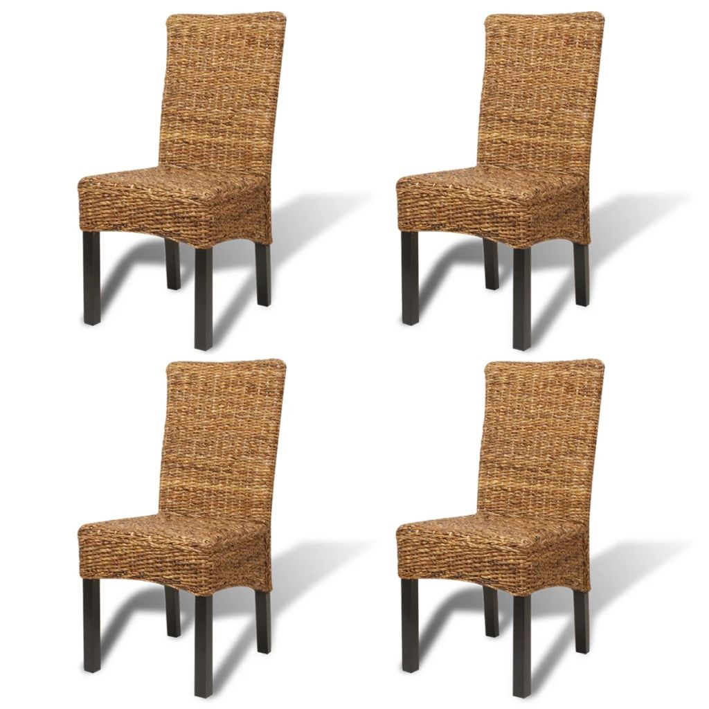 Dining Chairs 4 pcs Abaca and Solid Mango Wood 2