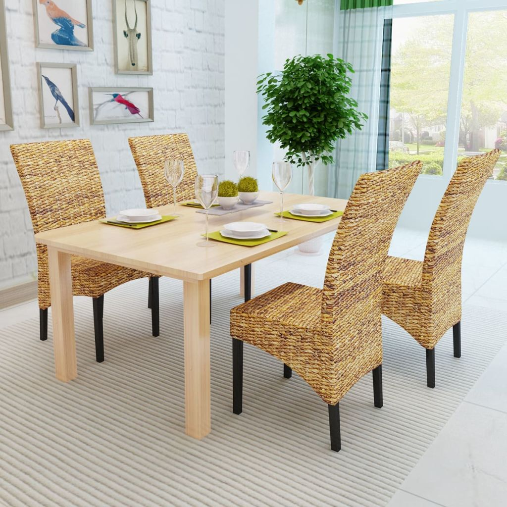 Dining Chairs 4 pcs Abaca and Solid Mango Wood 3