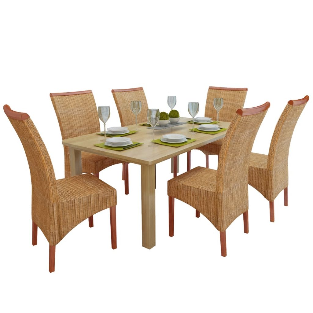 Dining Chairs 6 pcs Brown Natural Rattan 1