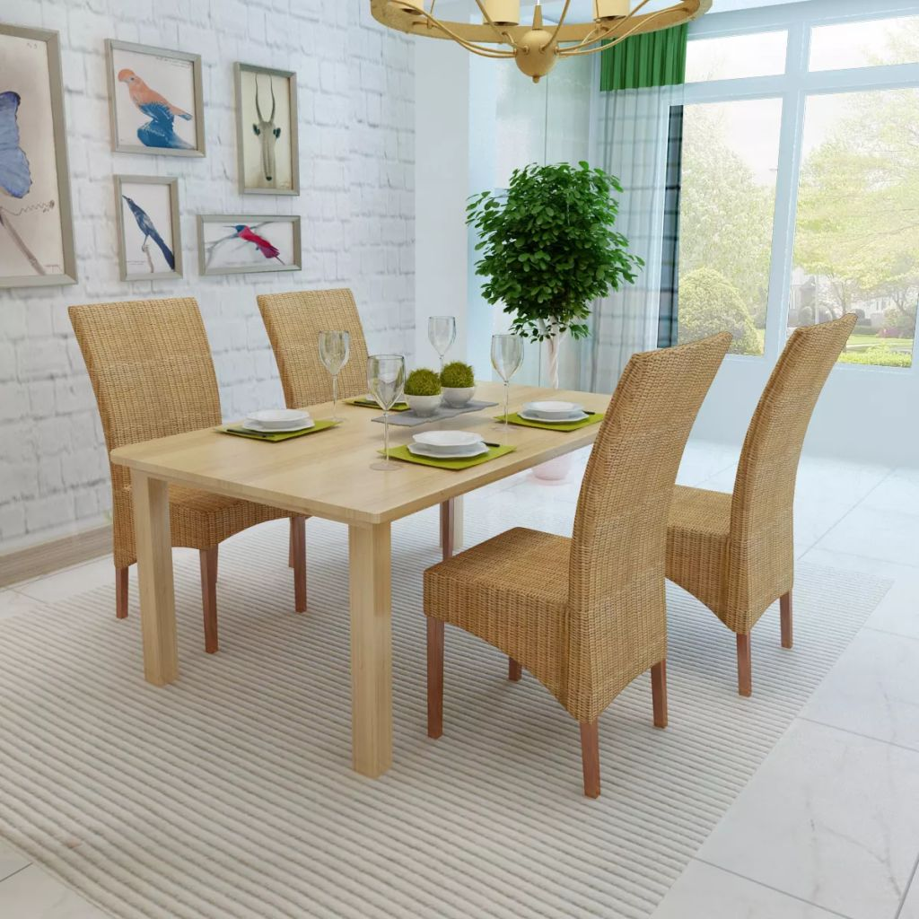 Dining Chairs 4 pcs Brown Natural Rattan 3