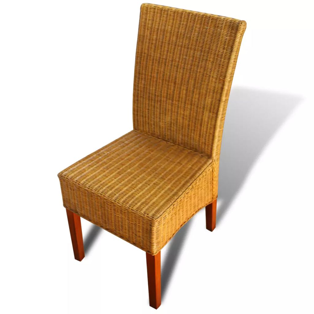 Dining Chairs 4 pcs Brown Natural Rattan 4