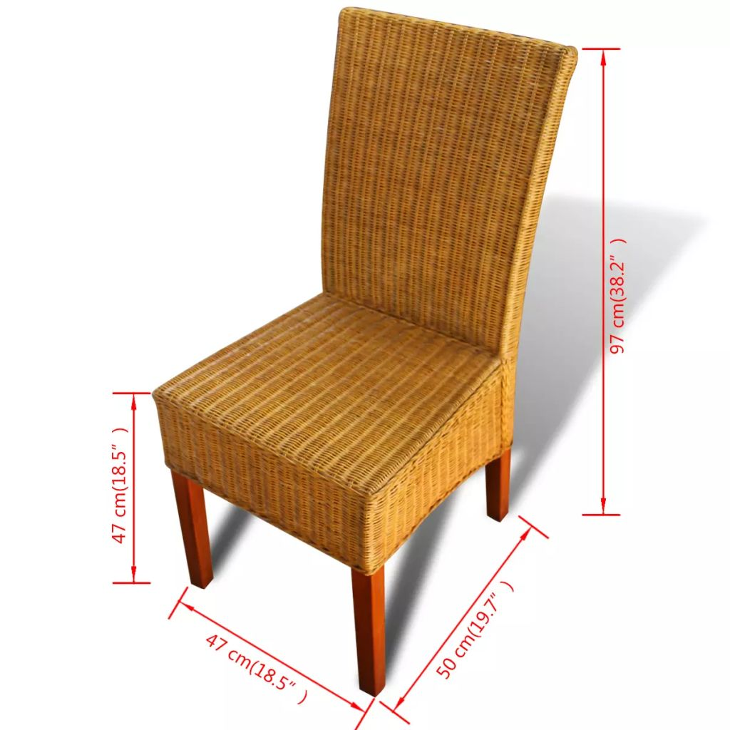 Dining Chairs 4 pcs Brown Natural Rattan 8