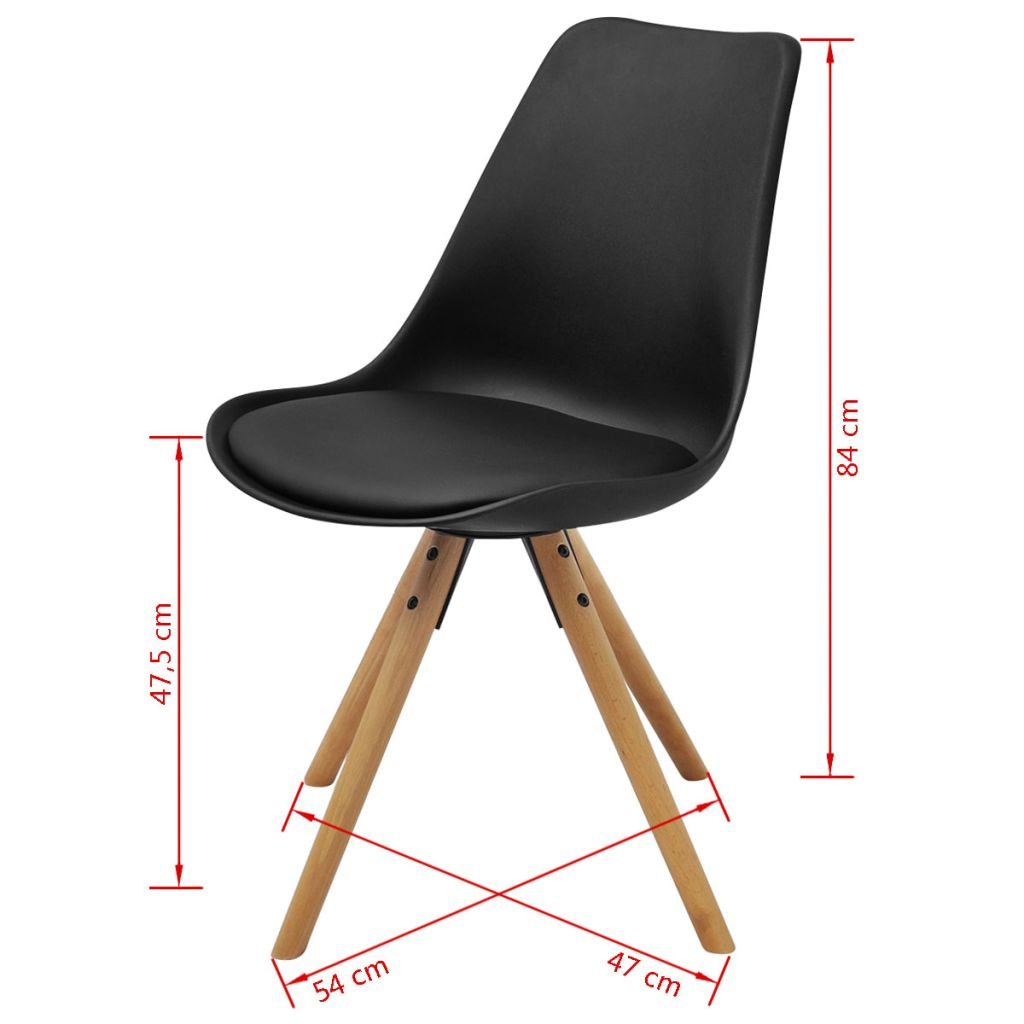 Dining Chairs 6 pcs Black Faux Leather 7