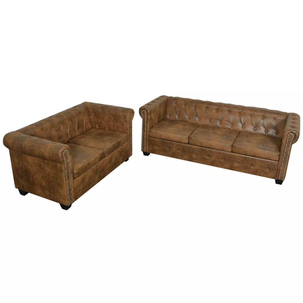 Chesterfield 2-Seater and 3-Seater Sofa Set Brown