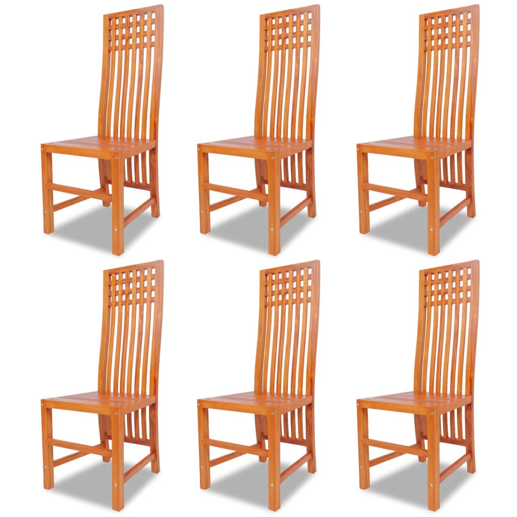 Dining Chairs 6 pcs Solid Teak