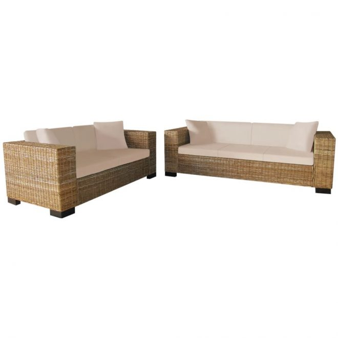 2-Seater and 3-Seater Sofa Set Real Rattan 1
