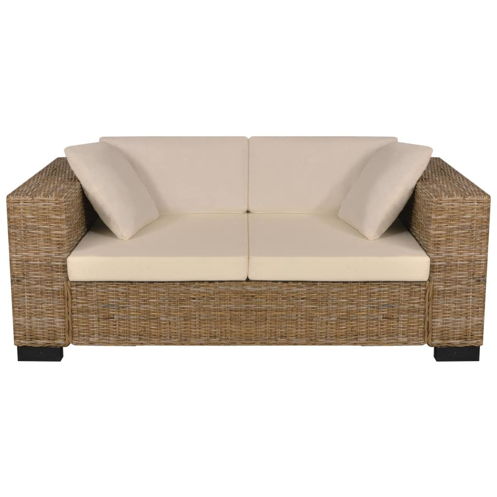 2-Seater and 3-Seater Sofa Set Real Rattan 3