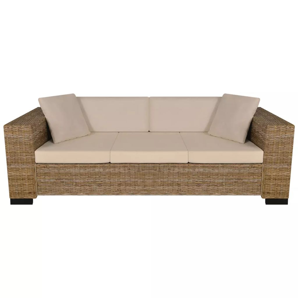 2-Seater and 3-Seater Sofa Set Real Rattan 5