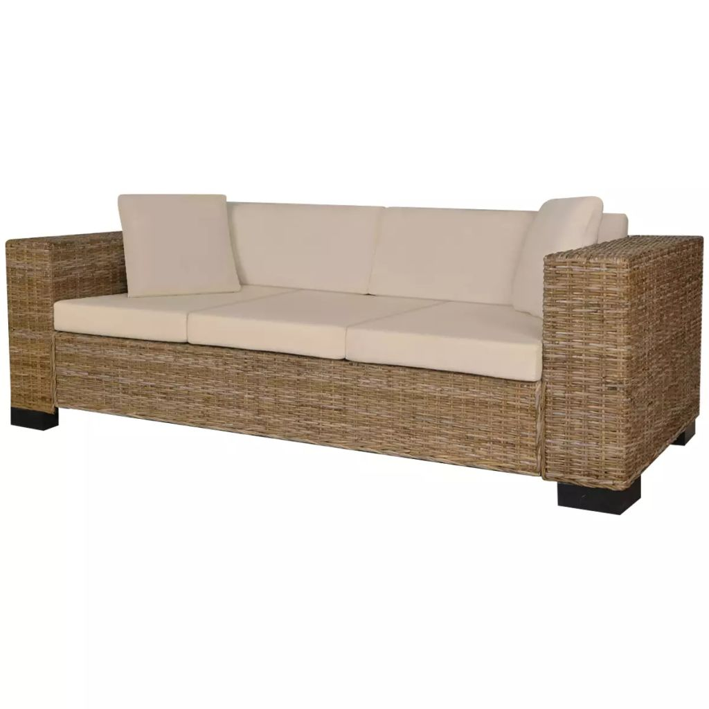 2-Seater and 3-Seater Sofa Set Real Rattan 6