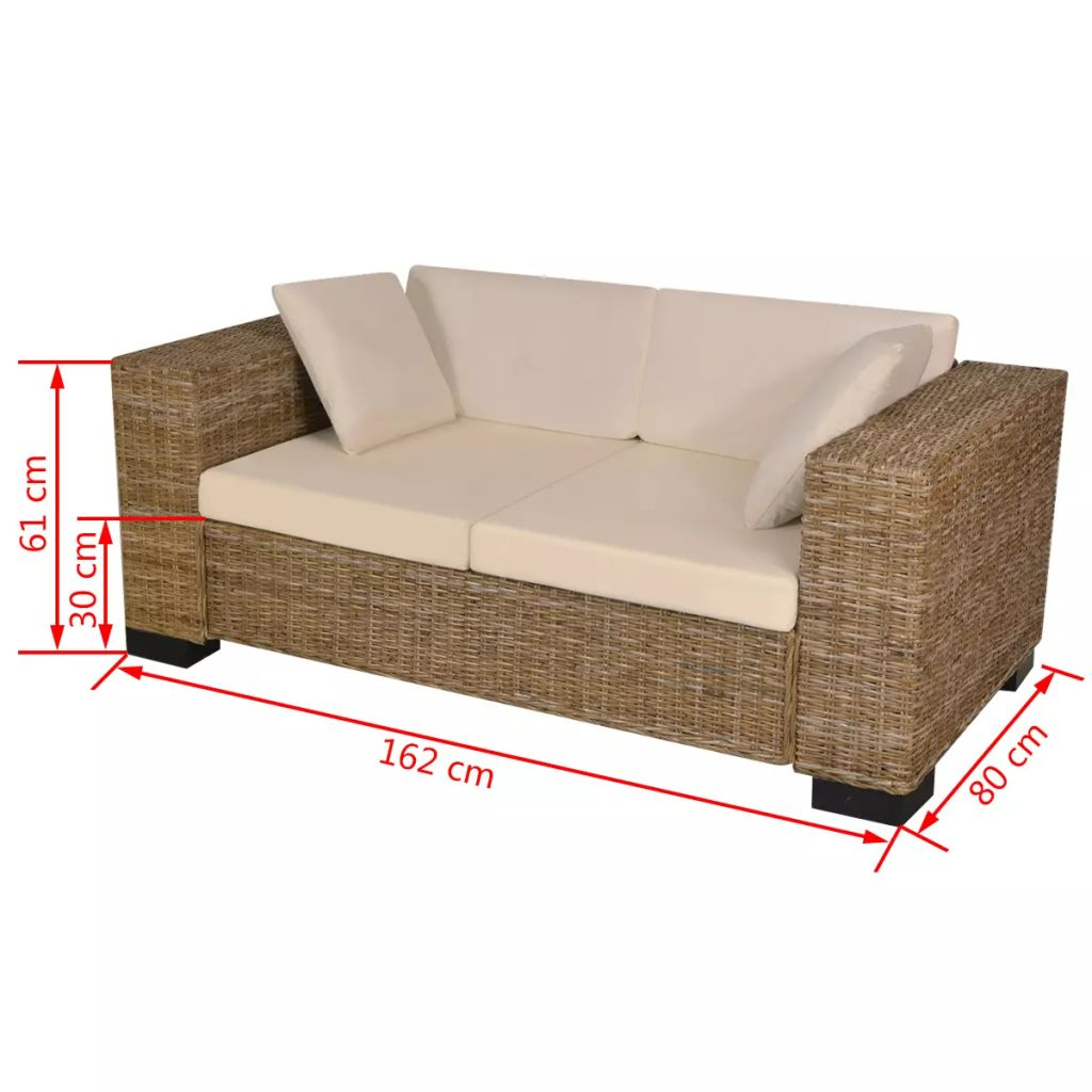2-Seater and 3-Seater Sofa Set Real Rattan 8
