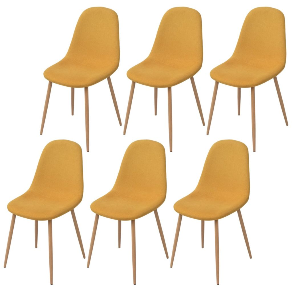 Dining Chairs 6 pcs Yellow Fabric 1