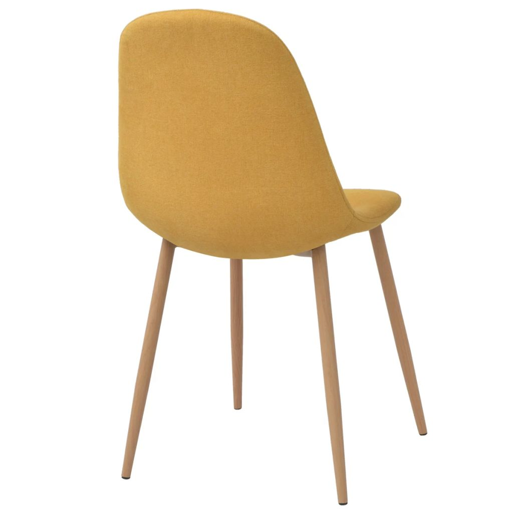 Dining Chairs 6 pcs Yellow Fabric 4