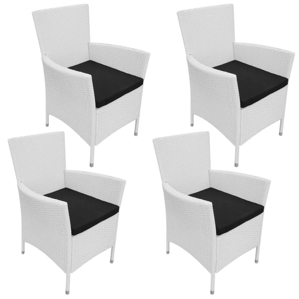Garden Chairs 4 pcs with Cushions Poly Rattan Cream White 1