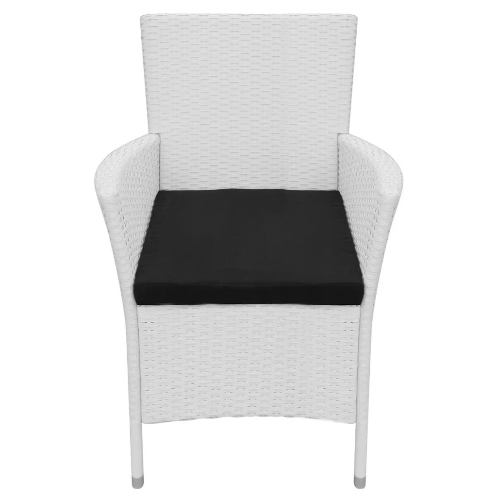 Garden Chairs 4 pcs with Cushions Poly Rattan Cream White 3