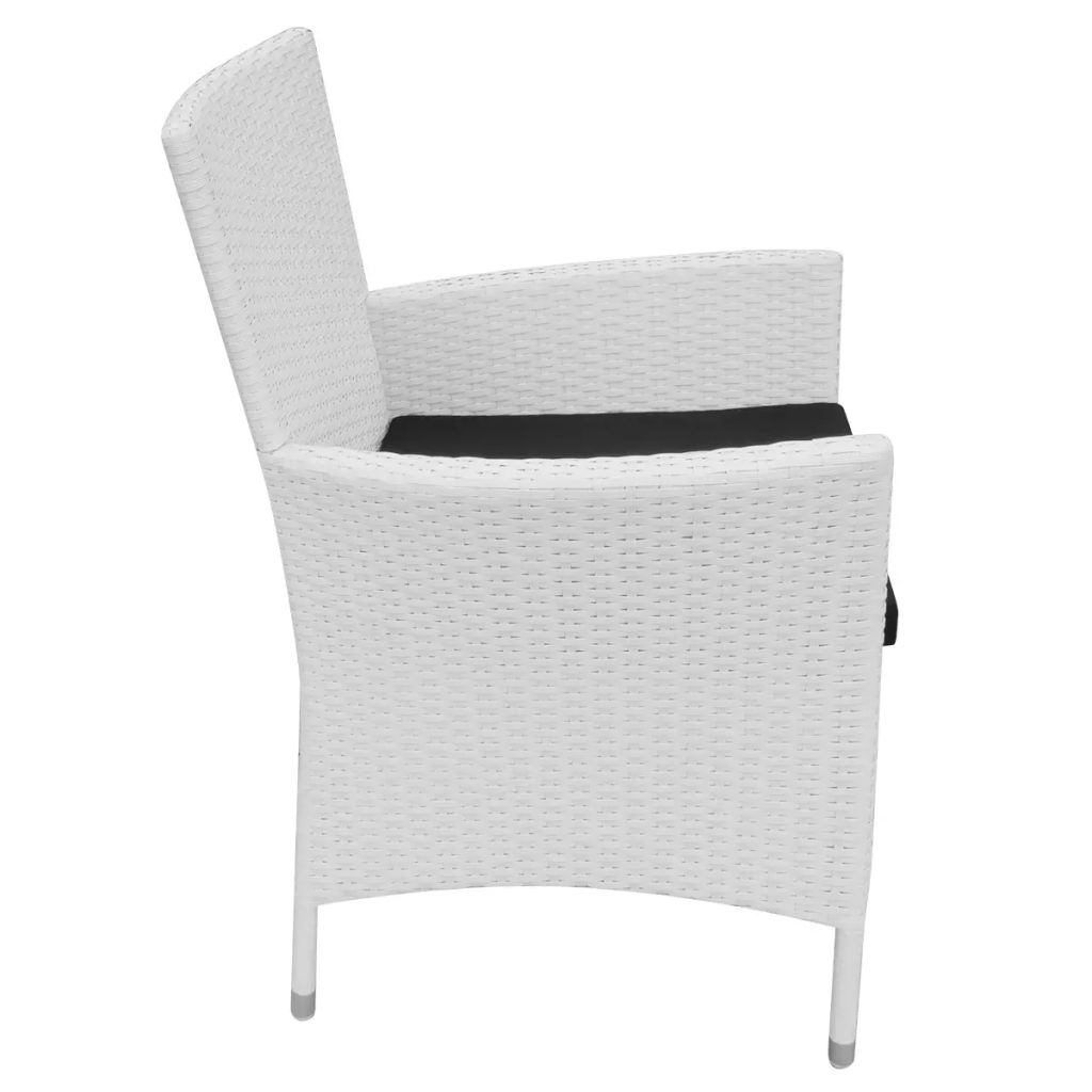 Garden Chairs 4 pcs with Cushions Poly Rattan Cream White 4