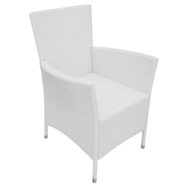 Garden Chairs 4 pcs with Cushions Poly Rattan Cream White 5