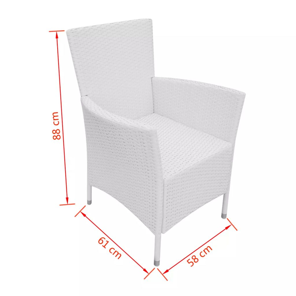 Garden Chairs 4 pcs with Cushions Poly Rattan Cream White 6