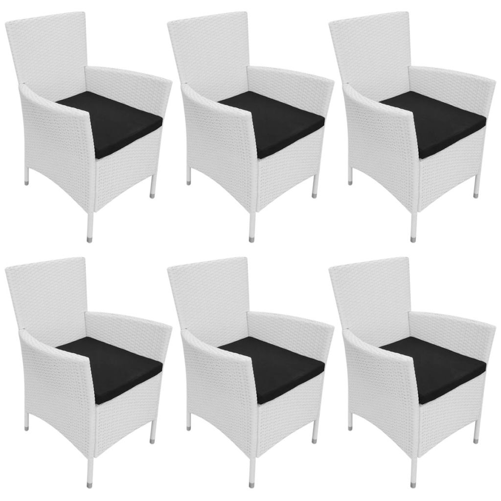 Garden Chairs 6 pcs with Cushions Poly Rattan Cream White 1