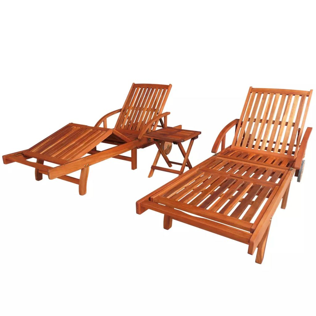 Sun Loungers 2 pcs with Table Solid Acacia Wood 1