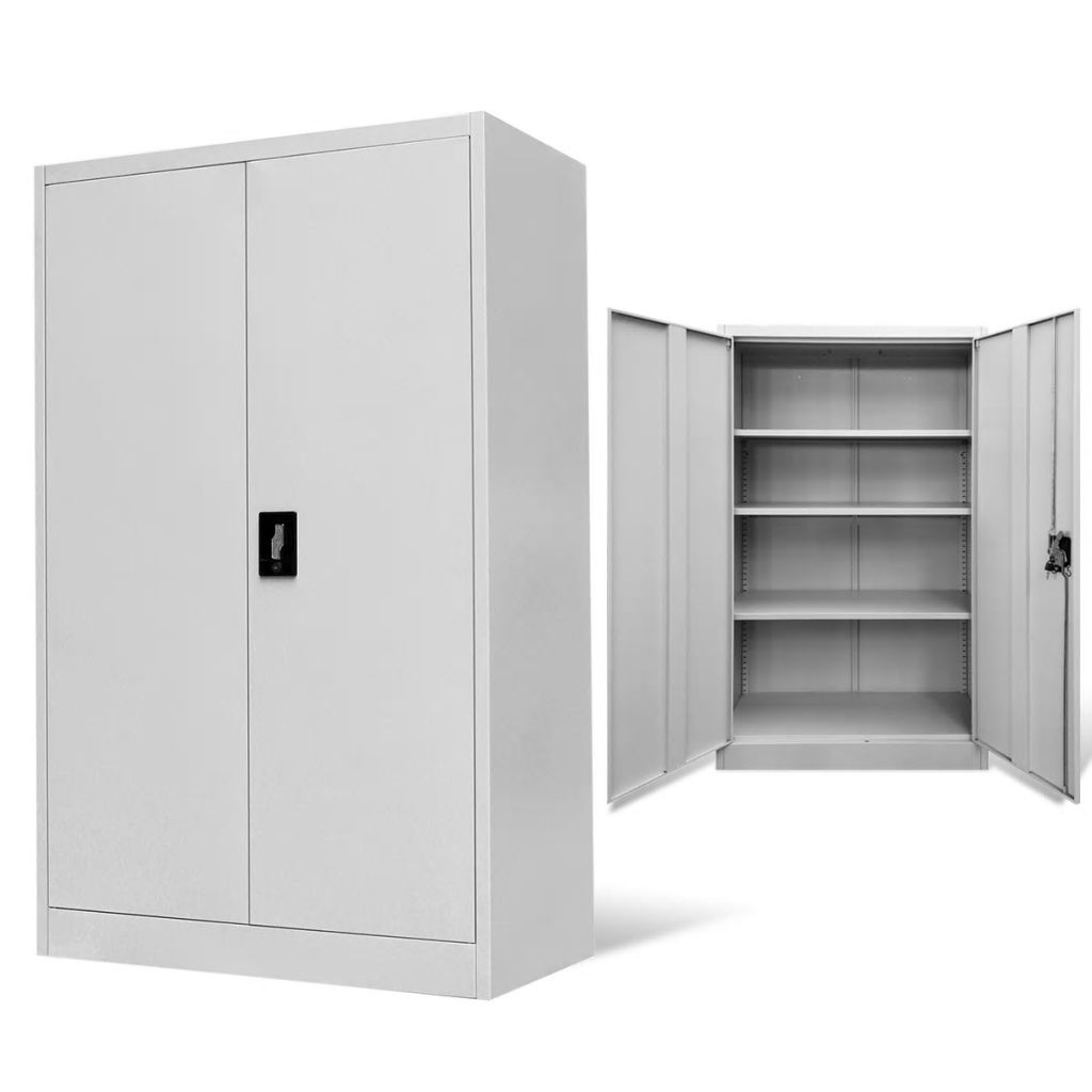 Office Cabinet 90x40x140 cm Steel Grey 1