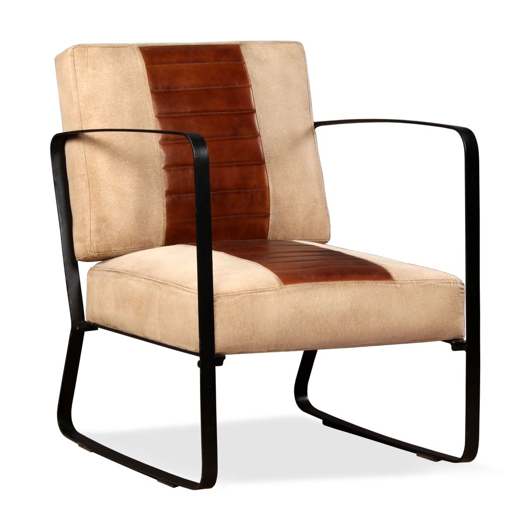 Lounge Chair Brown Genuine Leather and Canvas 1