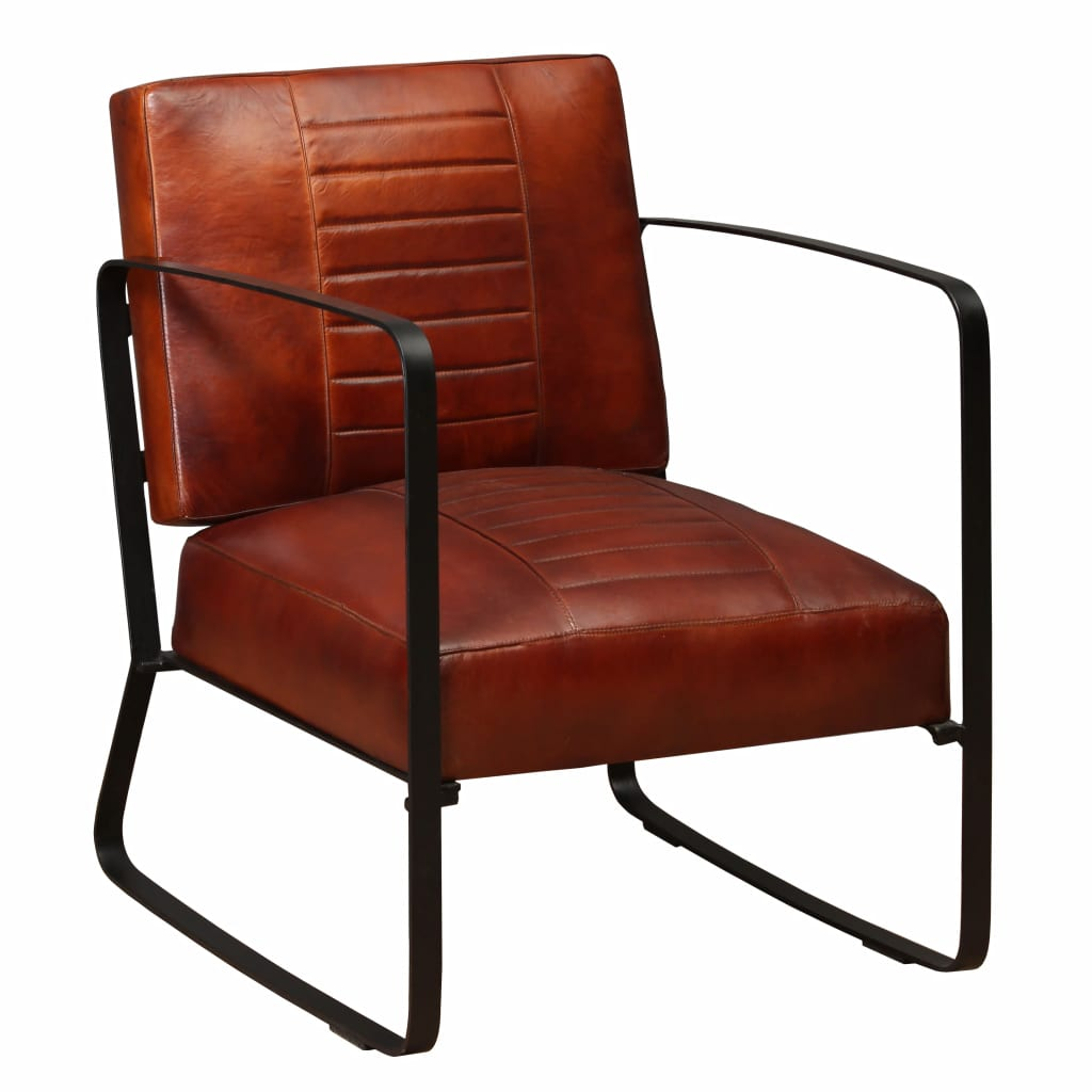 Lounge Chair Brown Genuine Leather 1